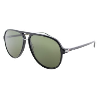 Gucci Black Plastic Green Lens Aviator Sunglasses