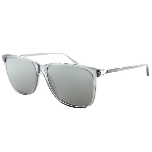 3d1a3a0a73 Gucci Unisex GG 0017S 003 Transparent Light Grey Plastic Square Sunglasses  with Blue Mirror Lenses