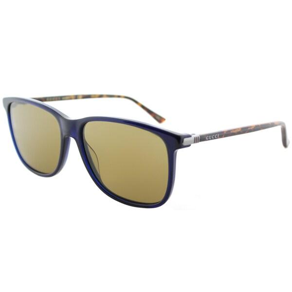 8d4ab53e0c69c Shop Gucci GG 0017S 005 Havana Plastic Square Sunglasses with Brown ...
