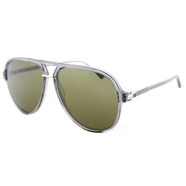 5c8460803d Gucci Unisex GG 0015S 005 Transparent Grey Plastic Green Lenses Aviator  Sunglasses