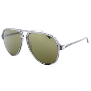Gucci Unisex GG 0015S 005 Transparent Grey Plastic Green Lenses Aviator Sunglasses