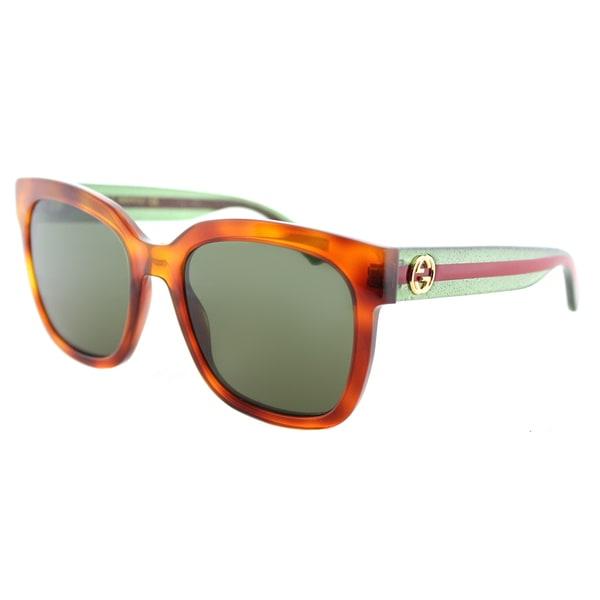 cb2a099d45 Shop Gucci GG 0034S 003 Havana Plastic Round Sunglasses Green Lens ...