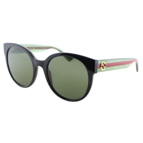 Gucci GG 0035S 002 Dark Havana Plastic Round Sunglasses with Green Lenses