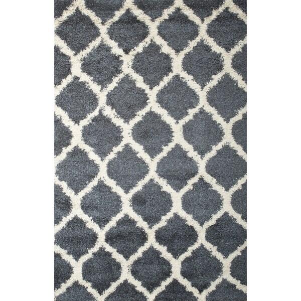 Shop Nova Blue White Shag Area Rug By Greyson Living 79 X 106