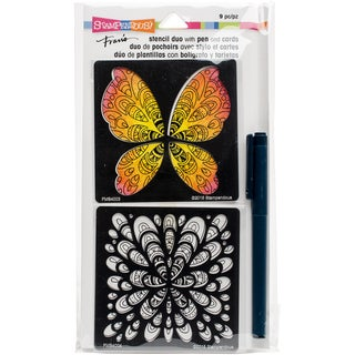 Stampendous Fran's Stencil Duo W/Pen & Cards