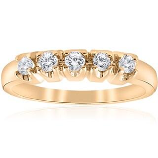14K Yellow Gold 1/2ct TDW Diamond 5-Stone Womens Wedding Ring (I-J, I2-I3)