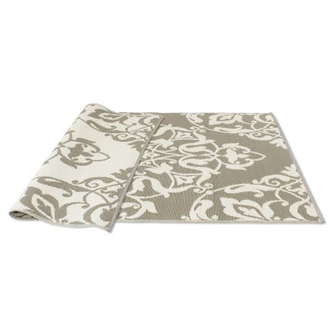 Kotter Home Cool Brown/White Reversible Indoor/Outdoor Mat - 4' x 6'