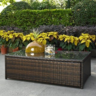 Gracewood Hollow Vigliero Outdoor Wicker Glass Top Table