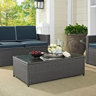 Palm Harbor Grey Wicker Glass Top Outdoor Table
