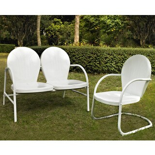Griffith 2 Piece Metal Outdoor Conversation Seating Set - Loveseat & Chair in White Finishoveseat & Chair in Sky Blue Finish