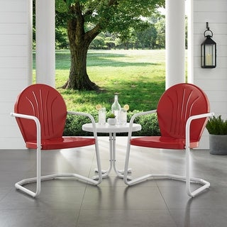 Griffith 3 Piece Metal Outdoor Conversation Seating Set - Two Chairs in Red Finish with Side Table in White Finish