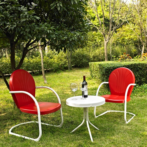 Griffith 3 Piece Metal Outdoor Conversation Seating Set Two Chairs In Red Finish With Side Table White Free Shipping Today
