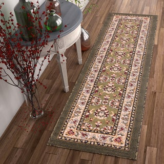 Well Woven Traditional Medallion Green Area Rug (2' x 7'3 Runner)