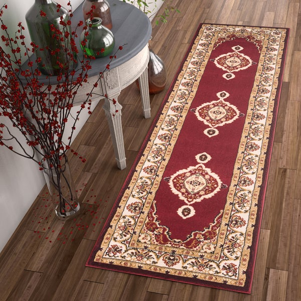 Well Woven Traditional Medallion Red Area Rug (2' x 7'3 Runner)