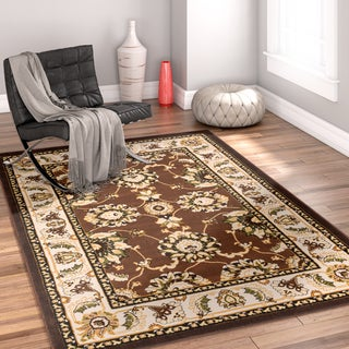 Well Woven Traditional Medallion Brown Area Rug (5' x 7'2)