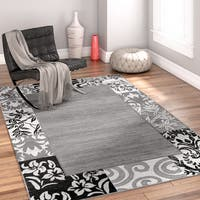 Well Woven Modern Ombre Border Patchwork Grey Area Rug - 5' x 7'2""