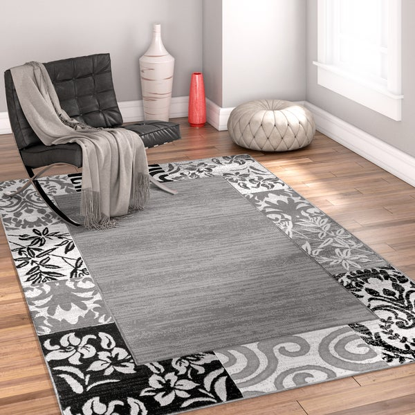 well woven modern ombre border patchwork grey area rug 5u0027 x