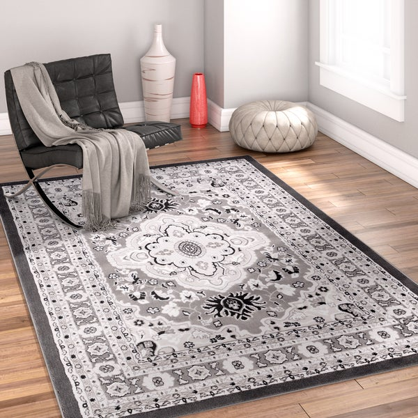 Well Woven Traditional Medallion Grey Area Rug - 7'10 x 9'10