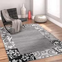 Well Woven Modern Ombre Border Patchwork Grey Area Rug - 7'10 x 9'10