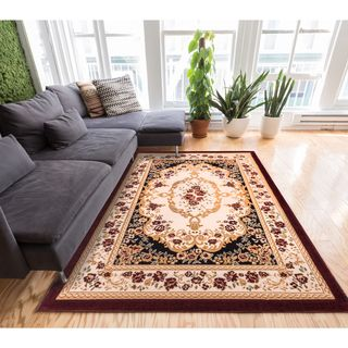 Well Woven Traditional Medallion Black Area Rug (9'3 x 12'6)