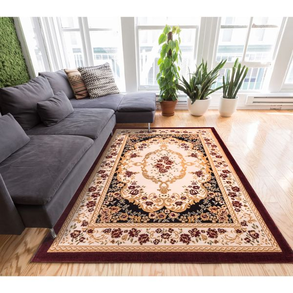 "Well Woven Traditional Medallion Black Area Rug - 9'3"" x 12'6"""