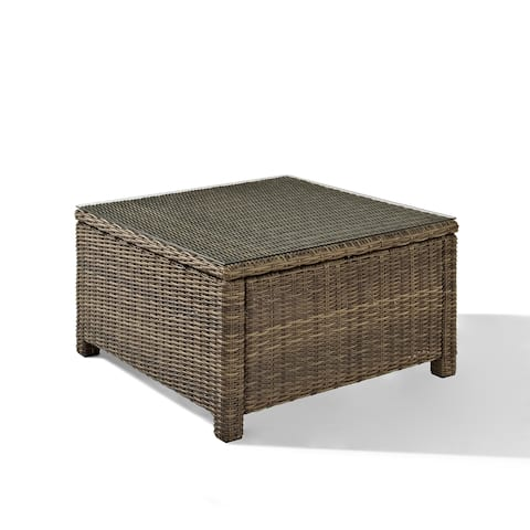 Bradenton Wicker Glass Top Sectional Outdoor Coffee Table