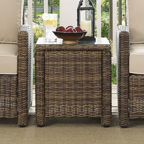 Bradenton Brown Wicker Rectangular Outdoor Side Table