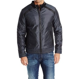 XRAY Men's Moto Leather Jacket with Faux Leather Trims