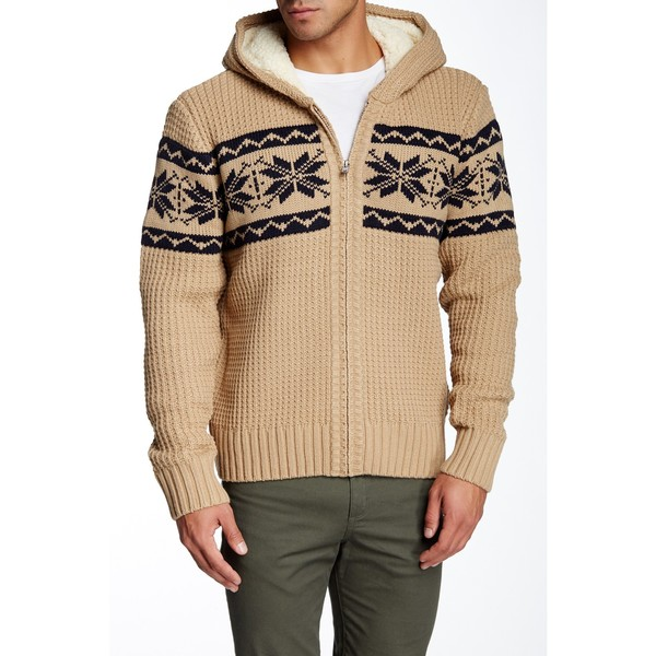 Mason Men's Khaki Knit Zip-up Hooded Sweater