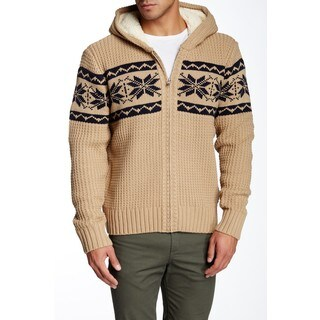 Mason Men's Khaki Knit Zip-up Hooded Sweater - Free Shipping On ...
