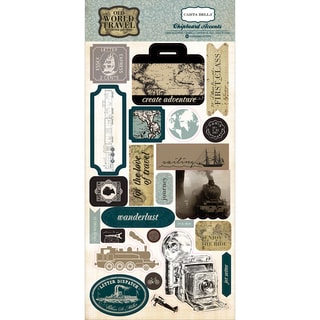 "Old World Travel Chipboard Accents 6""X13"""
