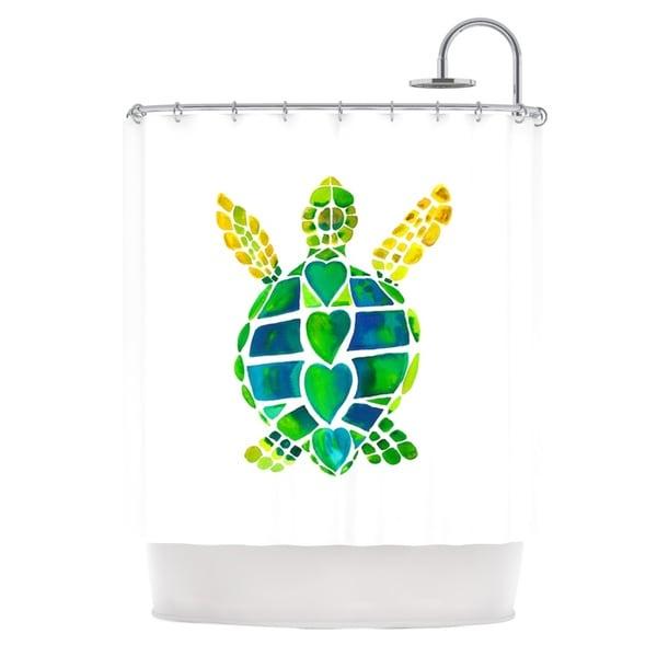 KESS InHouse Catherine Holcombe Turtle Love Green Teal Shower Curtain (69x70)