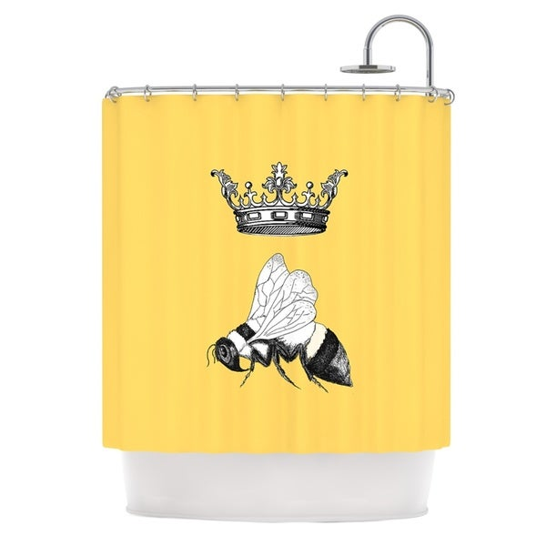 KESS InHouse Catherine Holcombe Queen Bee Canary Yellow Shower Curtain (69x70)