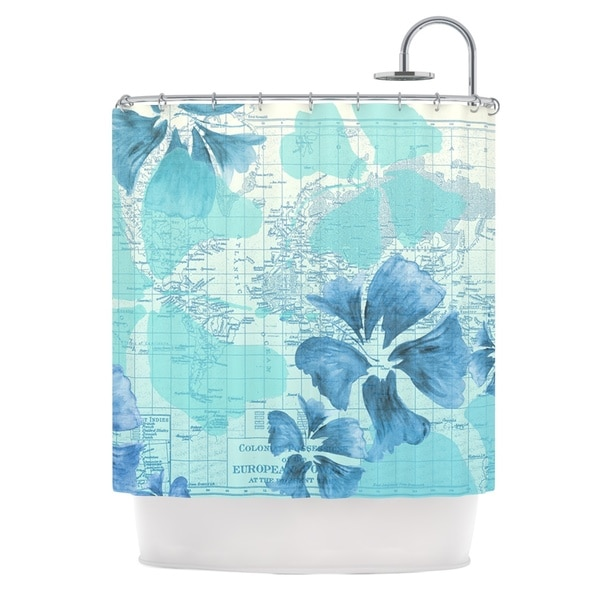 KESS InHouse Catherine Holcombe Flower Power Blue Aqua Map Shower Curtain (69x70)