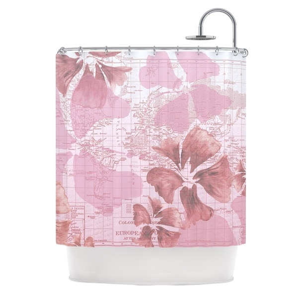 KESS InHouse Catherine Holcombe Flower Power Pink Map Shower Curtain (69x70)