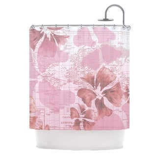 KESS InHouse Catherine Holcombe Flower Power Pink Map Shower Curtain (69x70)
