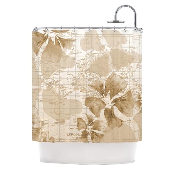 KESS InHouse Catherine Holcombe Flower Power Tan Brown Map Shower Curtain (69x70)