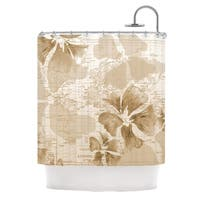 KESS InHouse Catherine Holcombe Flower Power Tan Brown Map Shower Curtain (69x70)