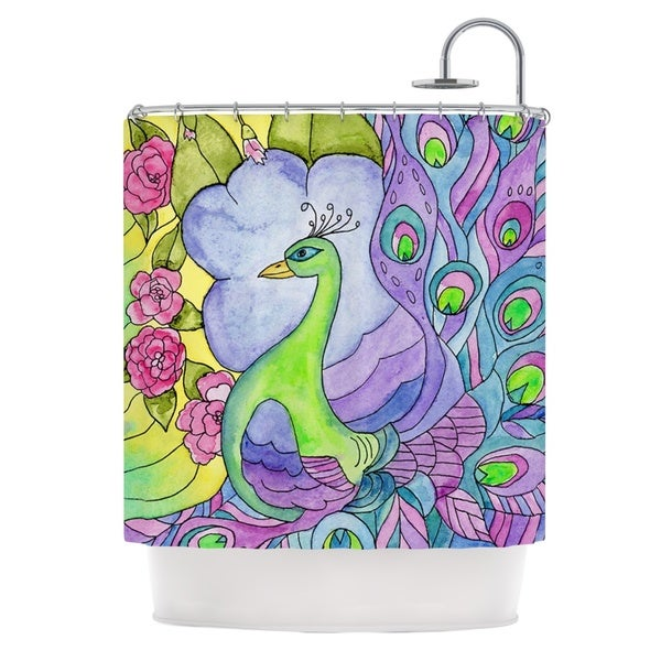 KESS InHouse Catherine Holcombe Stained Glass Watercolor Peacock Purple Green Shower Curtain (69x70)