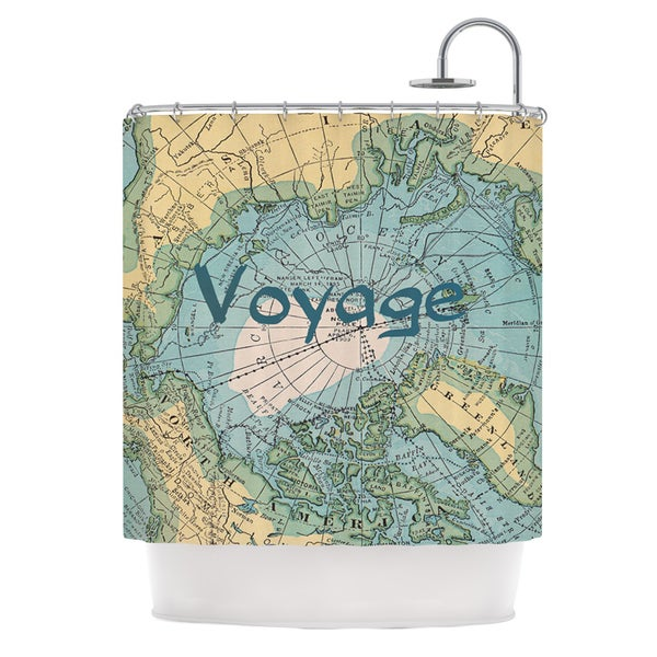 KESS InHouse Catherine Holcombe Voyage Teal Map Shower Curtain (69x70)