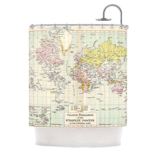 KESS InHouse Catherine Holcombe Travel World Map Shower Curtain (69x70)