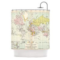 KESS InHouse Catherine Holcombe Travel World Map Shower Curtain (69x70)