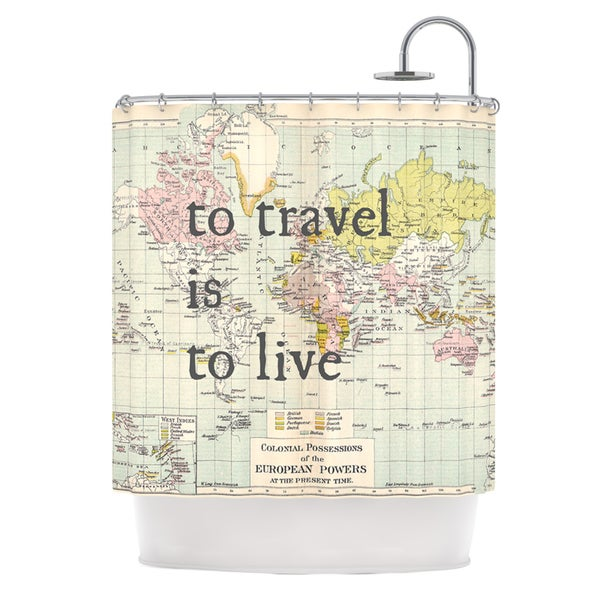 KESS InHouse Catherine Holcombe To Travel Is To Live Color Map Shower Curtain (69x70)