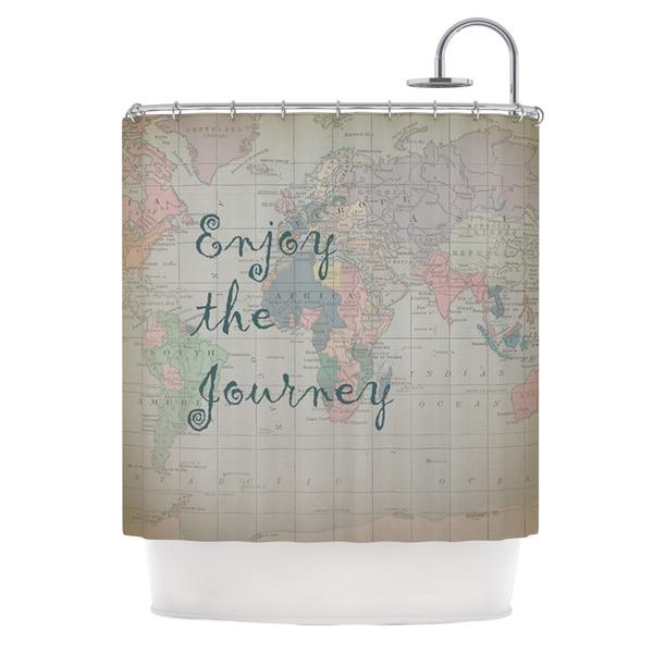 KESS InHouse Catherine Holcombe Journey World Map Shower Curtain (69x70)