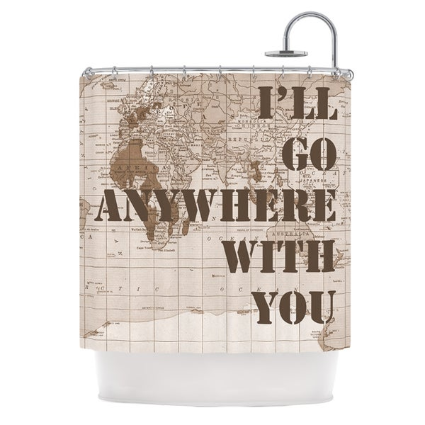 KESS InHouse Catherine Holcombe I'll Go Anywhere With You Brown Map Shower Curtain (69x70)