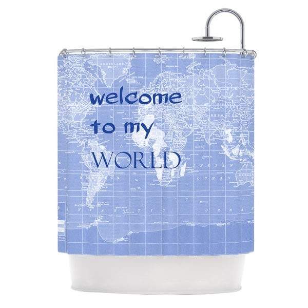 KESS InHouse Catherine Holcombe Welcome to my World Quote Indigo Shower Curtain (69x70)