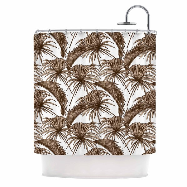 KESS InHouse Kess Original Palmtastic Tan Brown Abstract Shower Curtain (69x70) - 69 x 70