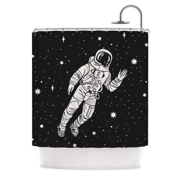 KESS InHouse Kess Original Space Adventurer Black Fantasy Shower Curtain (69x70)
