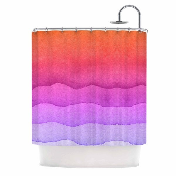 KESS InHouse Kess Original Ombre Sunset Coral Abstract Shower Curtain (69x70) - 69 x 70