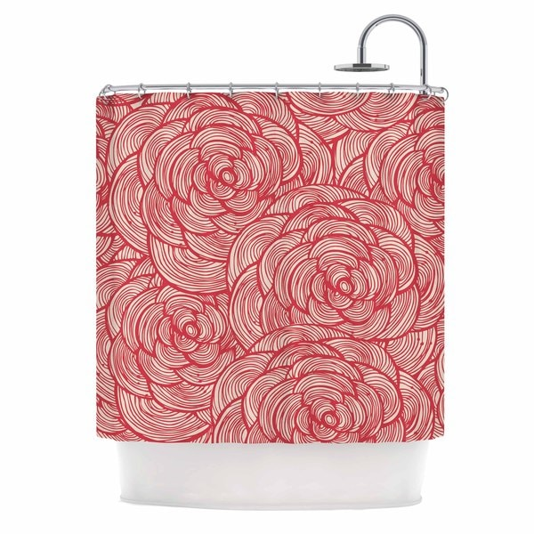 KESS InHouse KESS Original Roses Pink Red Shower Curtain (69x70)